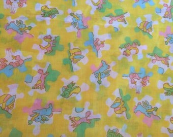 Vintage yellow animals fabric - 3/4 Yard