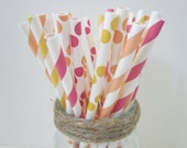 Sherbet Paper Party Drinking Straws ~ Buttercream ~ Raspberry ~ Peach ~ Wedding ~ Baby Shower ~ Set of 25 or 50