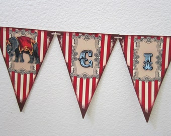 Vintage ~ Circus ~ Happy Birthday ~ Party Pennant ~ Flag ~ Banner