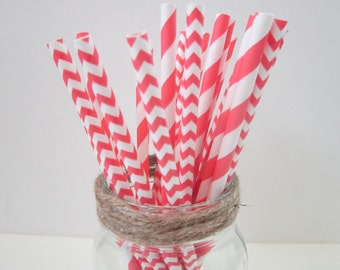 Coral Paper Drinking Party  Straw ~ Stripe ~ Chevron ~ Wedding ~ Baby Shower ~ 25 or 50