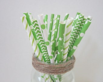 Lime Green Paper Party Drinking Straws ~ Wedding ~ Baby Shower ~ Set of 25 or 50