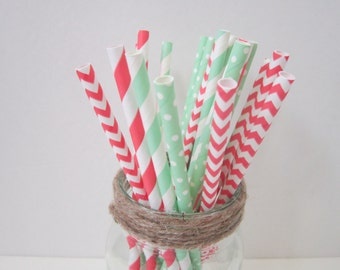 Coral Mint Paper Party Drinking Straws ~ Wedding ~ Baby Shower ~ Set of 25 or 50
