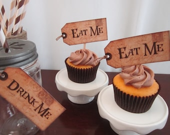 "Vintage Alice In Wonderland ~ ""Eat Me"" Cupcake Topper Tags ~ Party Tag ~ Beverage Tag ~ Set of 6"