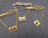 3 Mens Tie Bar Vintage Monogrammed Tie Bar with chain initials