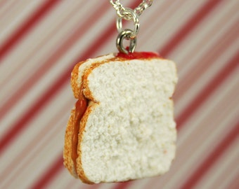 peanut butter and jelly necklace kawaii polymer clay charms miniature food jewelry polymer clay food necklace pb&j charm sandwich necklace