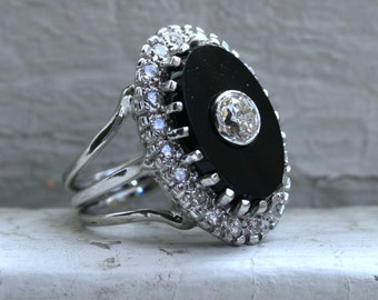 RESERVED - Great Vintage 14K White Gold Diamond and Onyx Ring - 1.50ct.