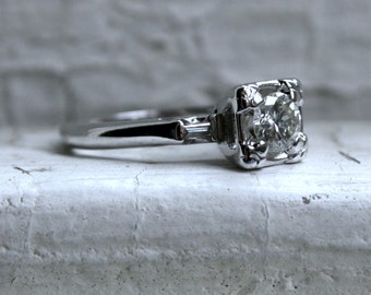 Vintage Art Deco 14K White Gold Diamond Engagement Ring with Baguettes - 0.50ct.