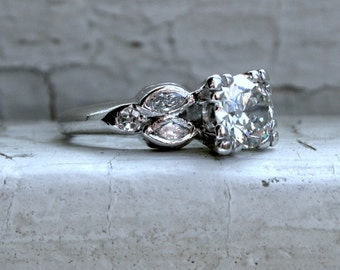 RESERVED - Vintage Platinum Diamond Engagement Ring with EGL Cert- 1.26ct