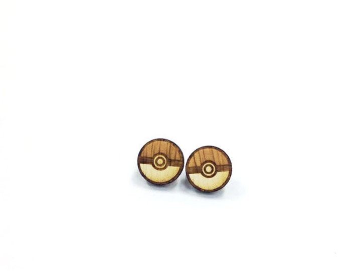 Pokemon Pokeball Earrings | Laser Cut Jewelry | Hypoallergenic Studs | Wood Earrings