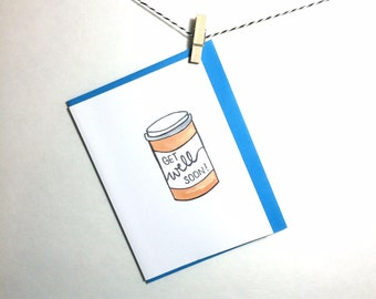 get well card. get well soon card. encouragement card. recovery