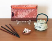 Foldover clutch, vintage kimono - Japanese geometric print with brown faux leather insert and silk tassel - Ready to ship or made to order