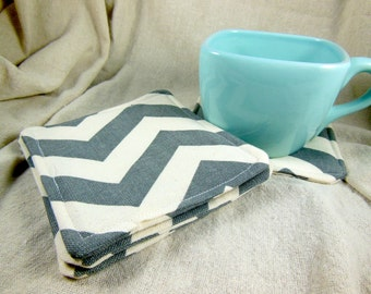 Gray Chevron Coaster - Gray Chevron Fabric Coaster Set - Mug Rug - Set of Four