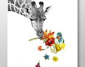 Hey! - print, Mixed media Decorative art, Animal painting, drawing, illustration, Giraffe portrait happy, POSTER 8x10