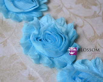 1/2 or 1 YARD Increment - SKY BLUE - Chiffon Shabby Rose Trim - Frayed Flowers - Headband Flowers - bridal garter roses - wholesale supplies
