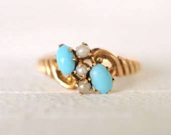 SALE - 1800's Antique Victorian / Turquoise and Seed pearls 10k yellow gold ring /boho bohemian gypsy
