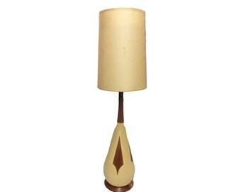 SALE Vintage Danish Modern Lamp - Vintage Mid Century Modern Lamp, Ceramic & Teak Lamp, Vintage 1960's Lighting, Atomic Age, Popcorn Texture