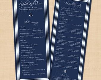 Nautical Navy With White Stripes Text-Editable Wedding Programs: 4.25 x 11 - Instant Download