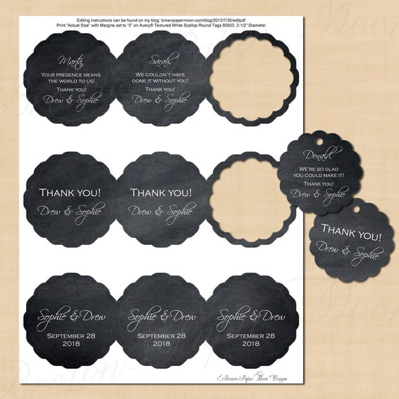 Chalkboard Scallop Round Tags 2.5: Text-Editable Printable