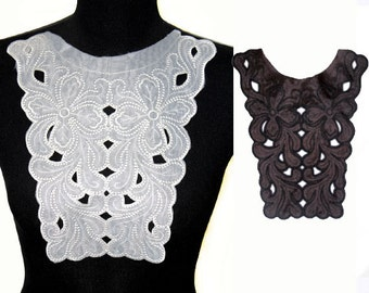 Black White Embroidered Floral Collar for Shirt Blouse Dress