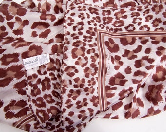 Vintage ECHO Silk Chiffon Scarf Brown and Tan Leopard Design Signed Maker 32 x 32 Square Scarf