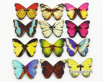 Colorful Wooden Bottons Set, 25x20mm,Wooden Butterfly Shape -(5 in a set)(FN101)