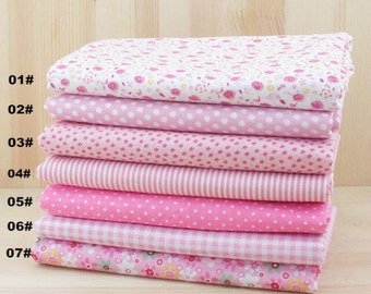 """Pink Bundle Pink Cotton Fabric Bundle- Pink Fabric Fat Quarter Bundle, Bundle 7 Fat Quarters Pieces each 19""""X19"""" (50x50cm) (QT511-M)"""