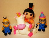 """Despicable me Agnes and 2 Minions set """"It's so Fluffy"""" Inspired -  Cake Topper"""