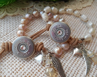 Shotgun Jewelry ~ 20 Gauge ~ Hand Knotted Creamy Fresh Water Pearls Bracelet ~ Leather Wing Heart Crystals Rhinestones ~ Made in USA