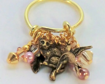 SALE! Golden cat and bird charm adjustable ring, finger ring with pink pearls crystals and charms, nature jewelry, mini cha cat dangle ring