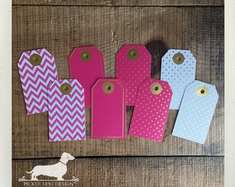 CLEARANCE! 8 Pink Combo. Gift Tags -- (White, Gold Foil, Hang Tags, Birthday Gift Wrap, Favor Tags, Modern, Bridal Shower, Baby Shower)