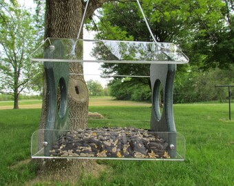 Recycled Poly Lumber Hanging Birdfeeder, Green, 3 Cup Capacity Free Shipping