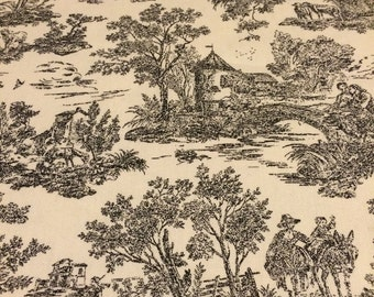 """100% cotton decorator fabric ivory/charcoal toile 45"""" wide sold by the yard"""