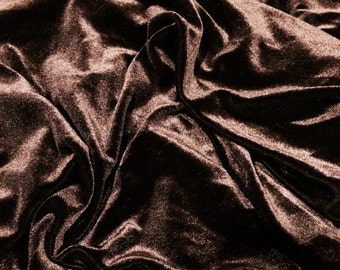 """Chocolate Brown 4 way stretch velour velvet fabric 58"""" wide sold by the yard"""