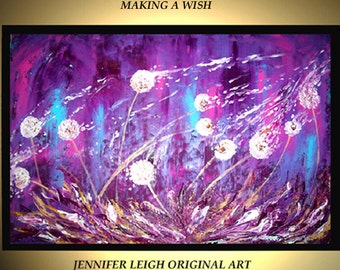 """Original Large Abstract Painting Modern Acrylic Oil Painting Canvas Art Purple White Dandelions 36x24"""" Palette Knife Textured  J.LEIGH"""