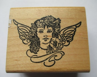 """Rubber Stamp """"Angel"""" Christmas stamp For cards scrapbooking  slightly used good condition"""