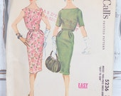 Vintage McCall's sewing pattern 5236 print in 1959 50's knee length cocktail top boat neck with without  sleeves and slim skirt two piece
