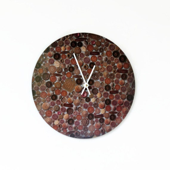 Wall Clock,  Home and Living, Decor and Housewares, Unique Clock, Buttons Print, Up Cycled Art, Housewarming Gift