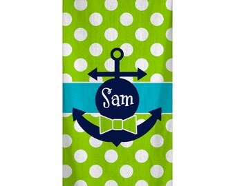 Personalized Custom Lime Dot Bowtie Anchor Beach Towel 30x60
