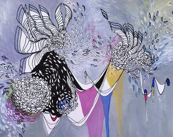 Abstract Mixed Media Painting, Floral, Ribbons, Paint Drips, Gouache and Watercolor