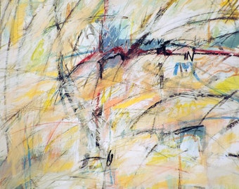 6-3-15 (abstract expressionist painting, gold, white, blue, green, black, red, yellow)