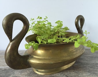 Vintage brass planter double Swan handles oval