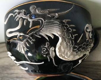 Moriage Dragon Cup and Saucer Blue Eyed Dragon Made in Japan