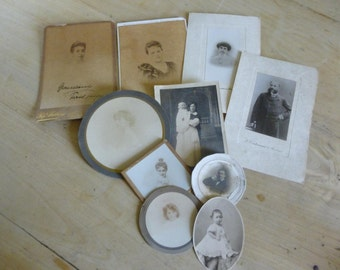 10 Antique French Cabinet Photographs, Circa 1900 ish.