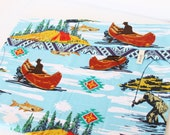 Cowboy Canoe Indian River Flannel Pillowcase (SINGLE ONLY!) Blue Country River Bedding Love Congo Africa Adoption Fundraiser