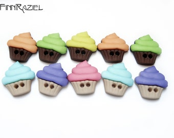 10 sweet cupcakes - buttonset colorful kids clothes