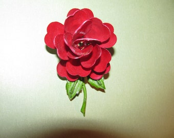 Vintage Rose Red With Green Leafs Enamel Flower Brooch Pin