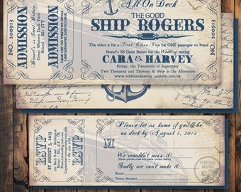 Cruise Ship Ticket Invitation and RSVP, Printable Ticket Invitation, Invitation for Wedding on a Ship, Wedding on a Boat Invite, Nautical