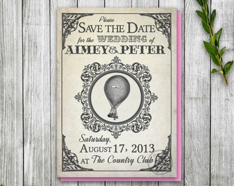 Printable Hot Air Balloon Save the Date Postcard, Steampunk Balloon Wedding Save the Date, Wizard of Oz Wedding theme, Vintage Postcard