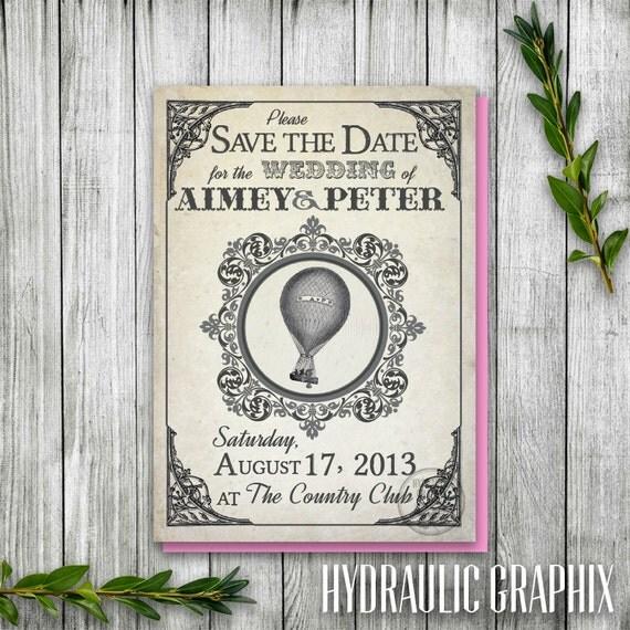 Printable Hot Air Balloon Save the Date Postcard, Steampunk Balloon Wedding Save the Date, Wizard of Oz Wedding theme, Vintage Postcard