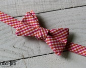 Pink and Orange Tattersall Bow Tie~Mens Self Tie Bow Tie~Mens Pre-Tied~Anniversary Gift~HoBo Ties~Cotton Bow Tie~Wedding~Pink Bow Tie
